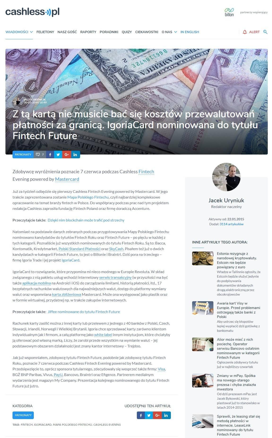 Cashless.pl Mastercard nagroda Fintech Future nominacja